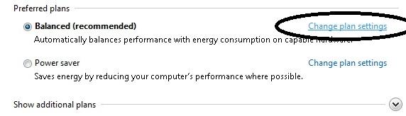שינוי הגדרות חשמל להתקנים