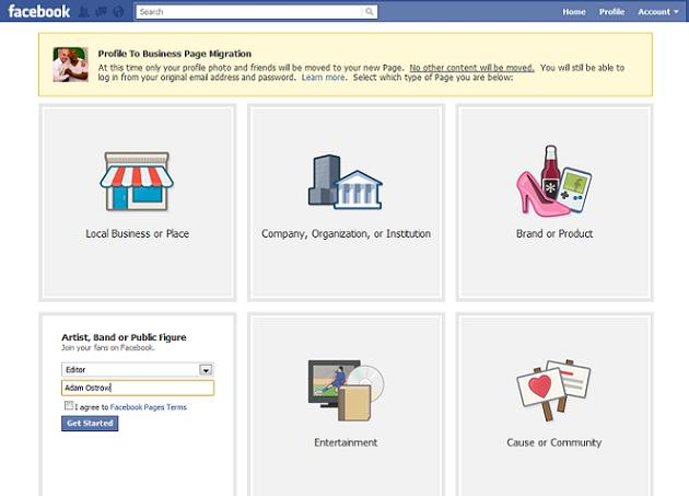How to convert profile to page