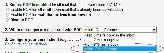 מחיקת דואר מגימייל כאשר מתקבל באווטלוק