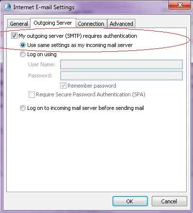 my outgoing server require authentication