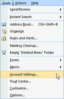 Account settings outlook 2007
