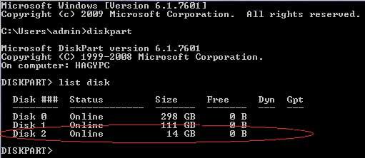 list disk