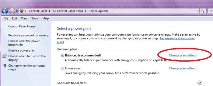 שינוי הגדרות חשמל