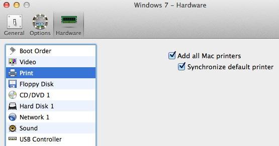 שיתוף מדפסות USB
