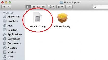 installESD מערכת OS X
