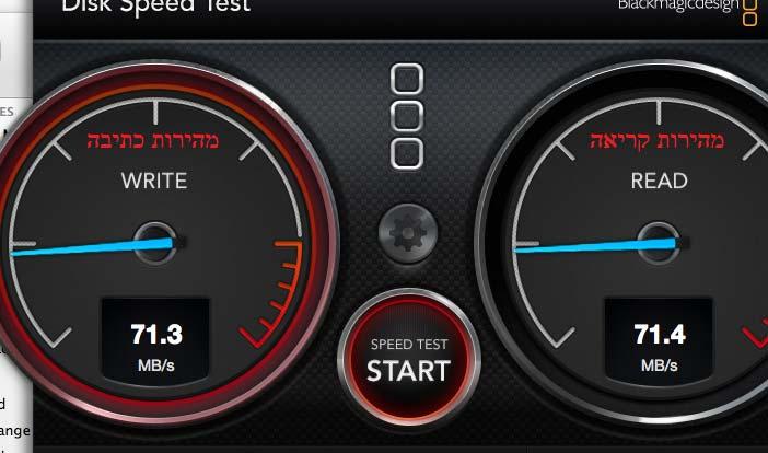 בדיקת מהירות דיסק קשיח מקינטוש Blackmagic Disk Speed Test – Apple