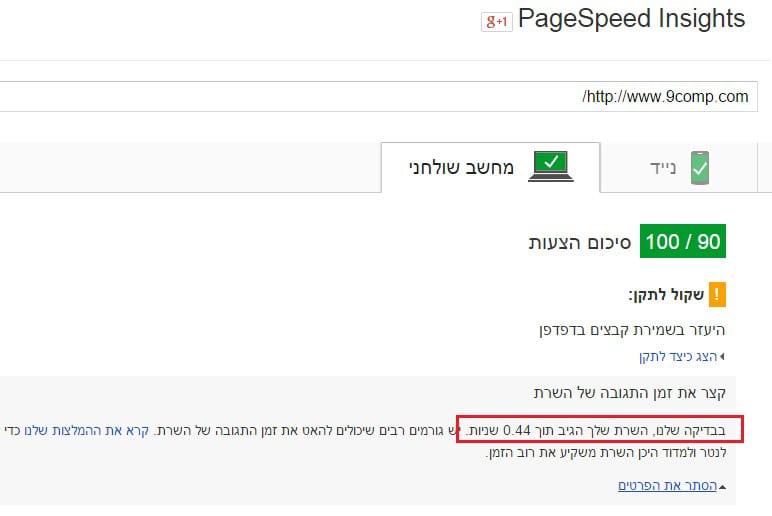 בדיקת מהירות אתר גוגל