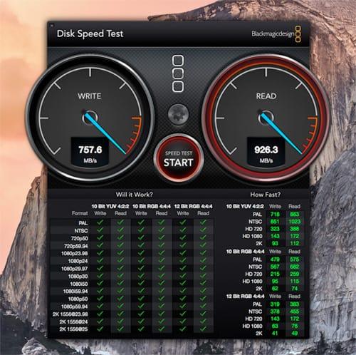 בדיקת מהירות דיסק מק פרו שחור