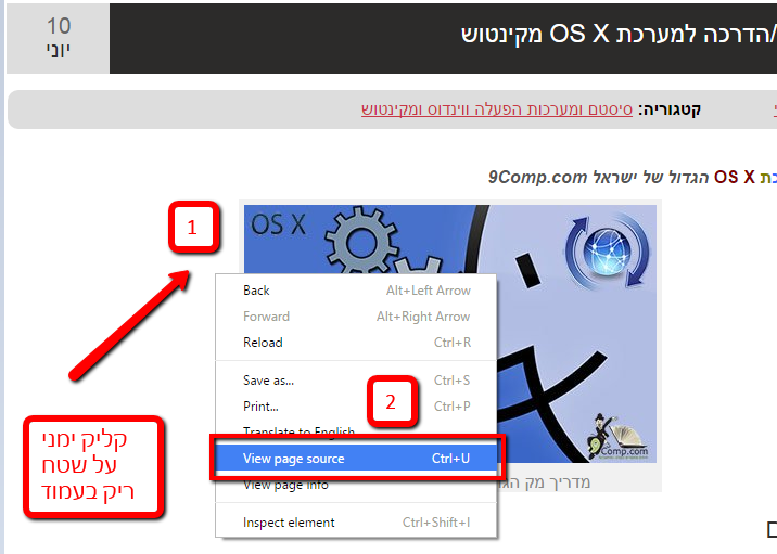 בדיקת מקור view source
