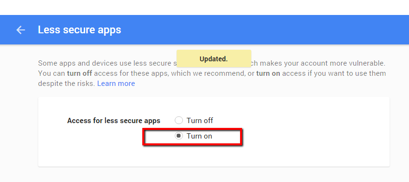 less secure apps gmail